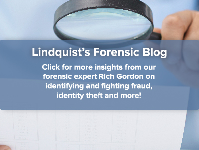 Person holding magnifying glass signifying with text promoting Lindquist's Forensic Blog.