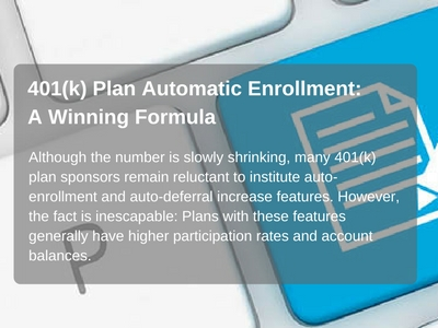 401K plan sponsors reluctant to institute auto enrollment.