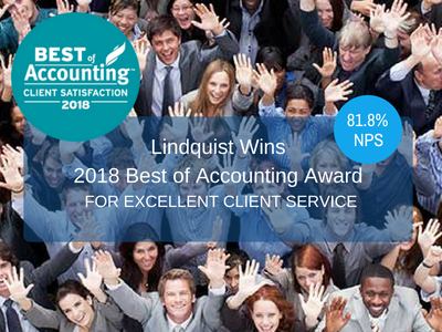 Camera looking down of people celebrating the 2018 Best of Accounting Award for Excellent Client Service.